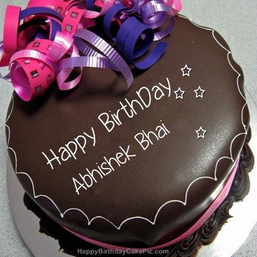Happy Birthday Chocolate Cake For Abhishek Bhai