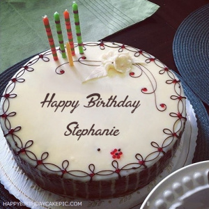 Stephanie Candles Decorated Happy Birthday Cake