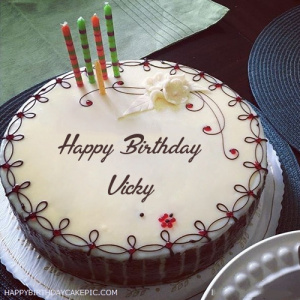 Vicky Candles Decorated Happy Birthday Cake